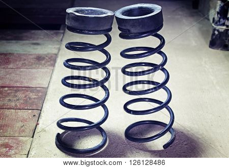 Suspension springs - on a gray background