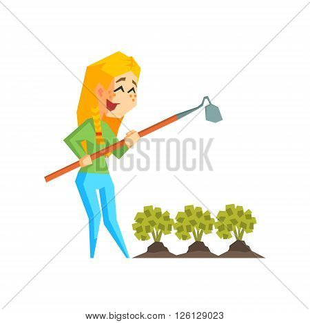 Girl Chopping Garden Bed Primitive Geometric Cartoon Style Flat Vector Design Isolated Illustration