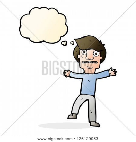 cartoon boy panicking with thought bubble