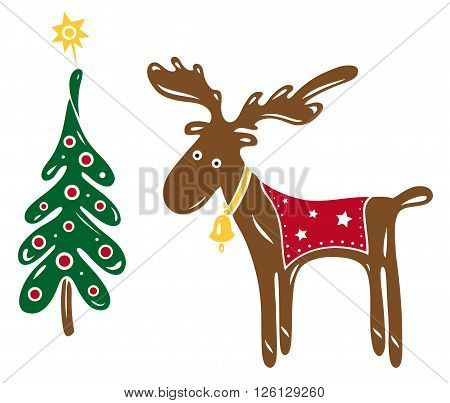 Reindeer, elk, funny vector design, christmas decoration.