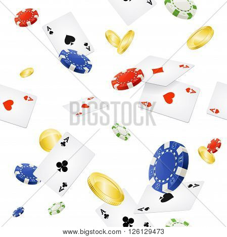 Casino Background Seamless and Gold Coins on White. Vector illustration