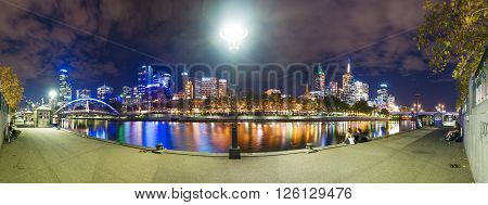 Melbourne, Australia - Mar 17, 2016: View of modern buildings along the Yarra River in Melbourne CBD at night