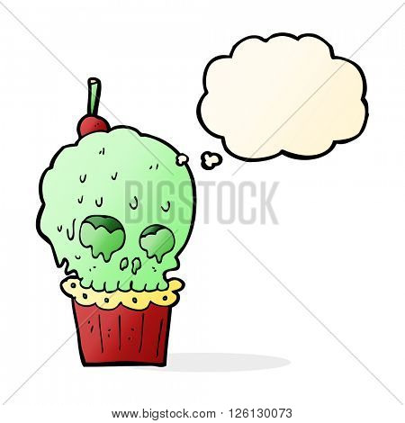 cartoon spooky skull cupcake with thought bubble