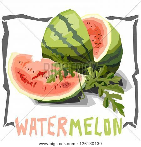 Vector simple illustration of watermelon with cut in angular cartoon style.