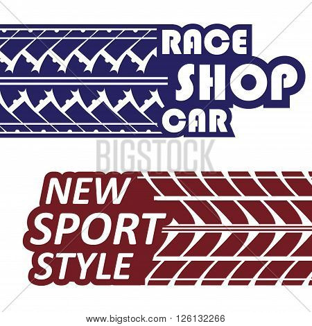 Set of two racing team logotypes with text and tire tracks isolated on white. eps10