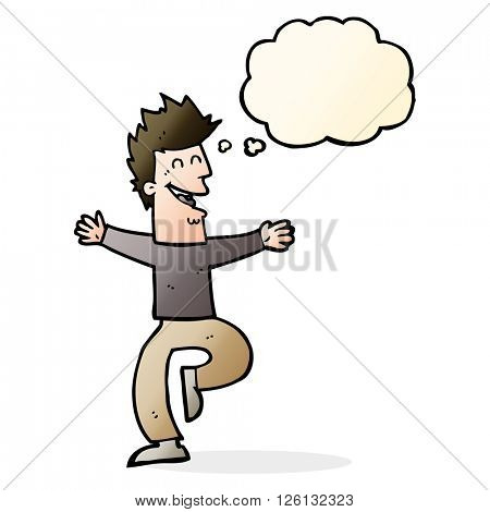 cartoon laughing man with thought bubble