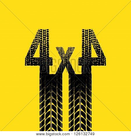 Yellow background with black tire track silhouette. eps10