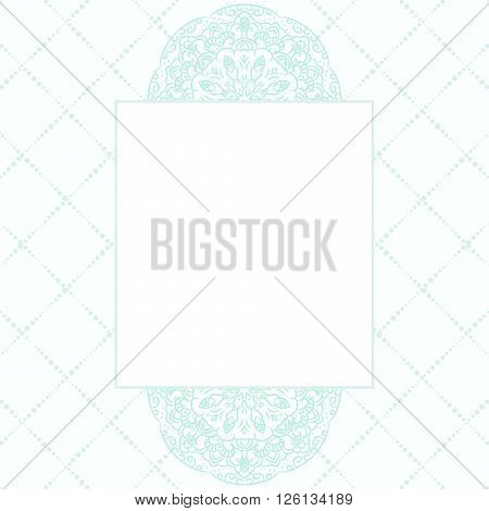 Baby blue mandala card template background. Wedding invitation, shower card design, subtle tender girl colors. Copy space for text.