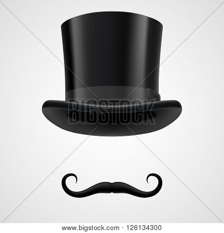 curly retro moustache and top hat elements. mysterious victorian aristocrat on grey background.