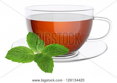 Cup tea and leaves of mint. Isolated on white background 3d