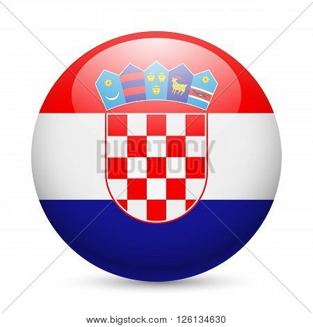 Flag of Croatia as round glossy icon. Button with Croatian flag