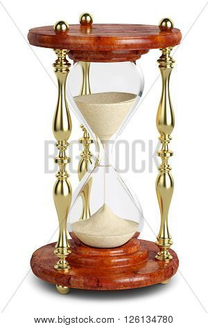 Hourglass sandglass retro isolated on white background 3d