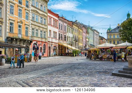 Lviv, Ukraine - August 3, 2015: The corner of Rynok Square in Lviv, Ukraine