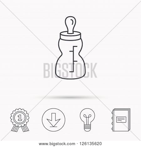 Baby feeding bottle icon. Drink glass with pacifier sign. Child food symbol. Download arrow, lamp, learn book and award medal icons.