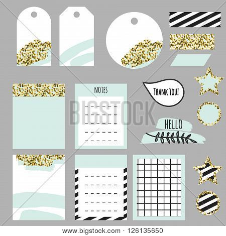 Journaling planner card notes and tags. Memo stickers for organizers and diary. Gold glitter and pastel mint accents decor.