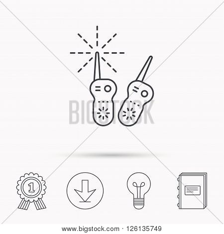 Baby monitor icon. Nanny for newborn sign. Radio set symbol. Download arrow, lamp, learn book and award medal icons.