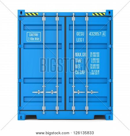 Cargo container texture front view isolated on white background 3d