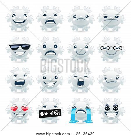 Cartoon funny snowflake emojis set for your humour projects. Isolated on white background. Clipping paths included.