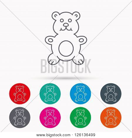 Teddy-bear icon. Baby toy sign. Plush animal symbol. Linear icons in circles on white background.