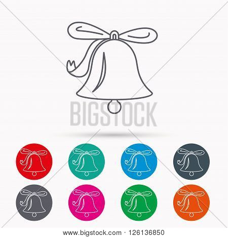 Ringing jingle bell icon. Sound sign. Alarm handbell symbol. Linear icons in circles on white background.