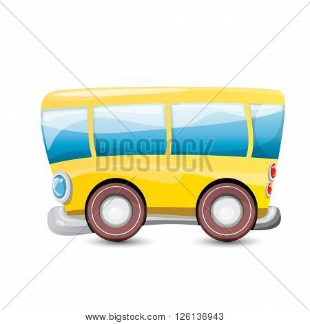 cartoon orange school bus isolated on white