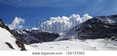 Panoramic View On Mountains In Nice Day