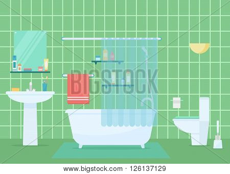 Bathroom vector illustration. Bathroom design. Bathroom interior in flat style. Modern bathroom. Bathroom elements isolated on background. Bathroom architecture.