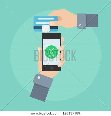 Mobile payment concept. Make mobile shopping. Implementation mobile payments from credit card. Human hand swiping credit card on phone dongle. Mobile phone payment design.
