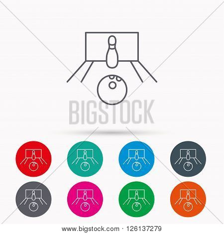 Bowling icon. Skittle or pin with ball sign. Competition sport symbol. Linear icons in circles on white background.