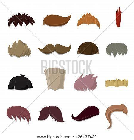 Set of cartoon vector Hair set over white background - vector illustration
