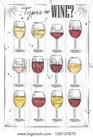 Poster main types of wine sparkling sauvignon blanc pinot noir merlot rose zinfandel bordeaux chardonnay viognier cabernet burgundy drawing with chalk in vintage style on wood background.