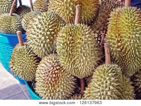 Heap of durians sale at a street market in Thailand
