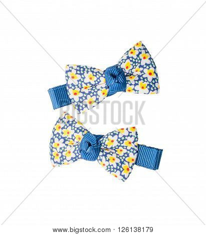 Hairclips with flower texture isolated over white background