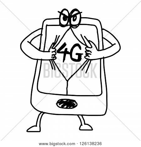 illustration vector hand draw doodles of cartoon mobile phone with 4G on the screen