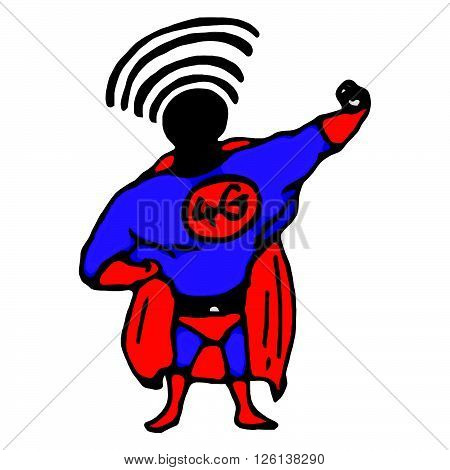 illustration vector hand draw doodles of superhero with 4G on his chest and wifi signal on his head