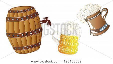 Beer keg, Oktoberfest design elements, cereal and hop.