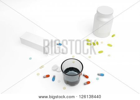different pills and boxes with glass of water 3D Rendering
