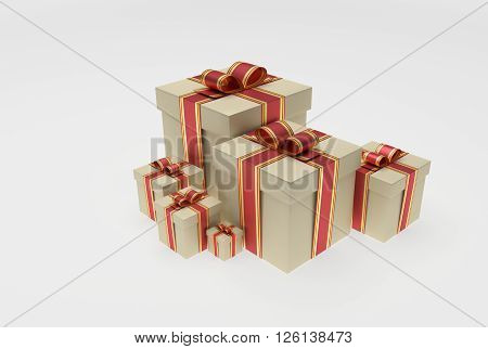 collection of presents with red ribbon and bow 3D Rendering