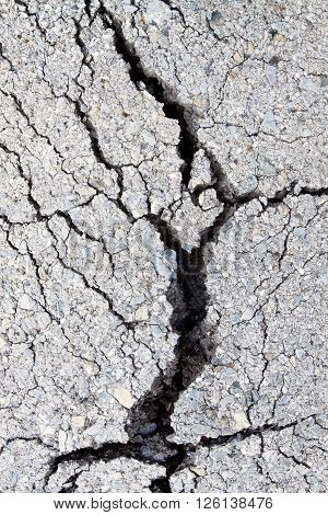 Macro Closeup On Concrete Asphalt Cracks On The Road.