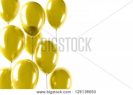 party gold balloons celebration or anniversary event isolated 3D Rendering