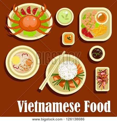 Fresh and healthy dishes of vietnamese cuisine with flat icons of grilled meat with rice, lemongrass and carrot sticks, crab, shrimp salad, rice noodles with deep fried fish, fried shrimps with sesame seeds and sweet potatoes, soy and fish sauces