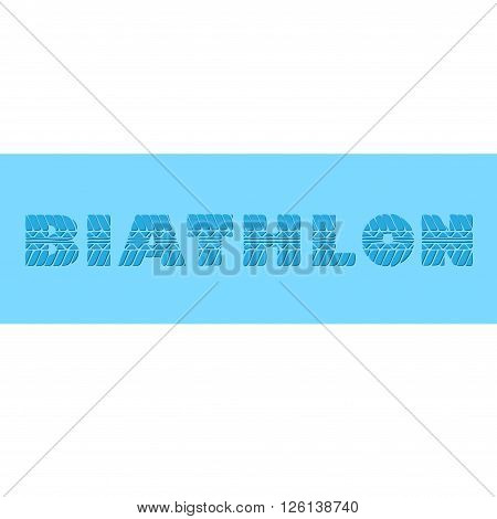 Blue banner with biathlon sample text and short shadow