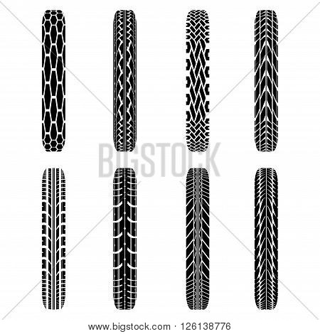 Set of eight black byke tire tracks isolated on white background