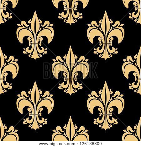 Seamless golden fleur-de-lis pattern with ornate heraldic lilies, decorated by victorian leaf scrolls and flourishes on black background. History, heraldry, monarchy theme design usage