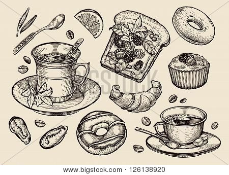 collection of hand drawn food. vector illustration