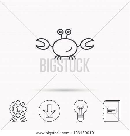 Crab icon. Cancer shellfish sign. Wildlife symbol. Download arrow, lamp, learn book and award medal icons.