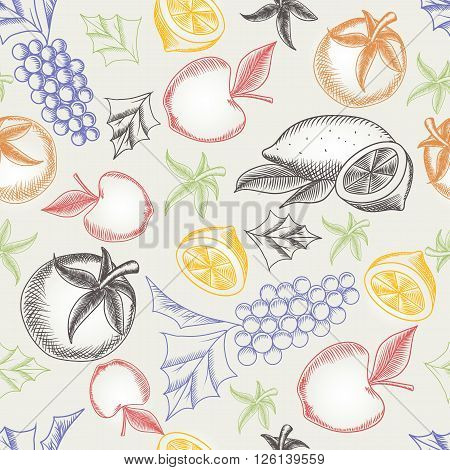 Colorful fruity seamless pattern. Hand drawing vector illustrations of different fruit