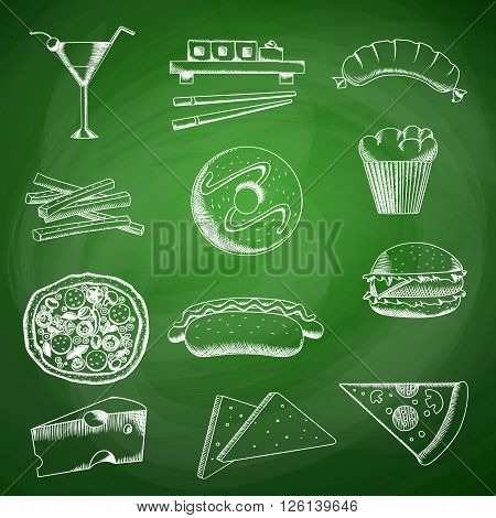 Food seamless pattern with hand drawing vector illustrations of pizza, doughnut and theme sketches on green background