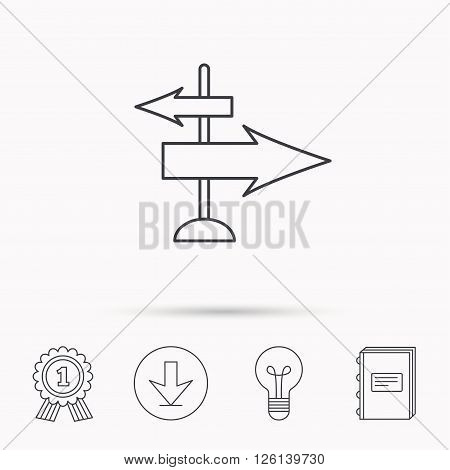 Direction arrows icon. Destination way sign. Travel guide symbol. Download arrow, lamp, learn book and award medal icons.