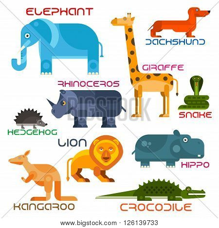 Bright cartoon icons of animals with flat silhouettes of african elephant, giraffe, lion, rhino, hedgehog, dachshund, hippo, crocodile, kangaroo and snake. Wildlife and zoo mascot, children book and nature theme design